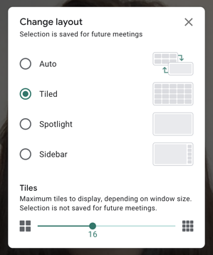 Change your layout in Google Meet