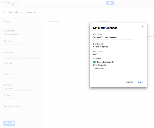 Google Drive Audit Alerts Screenshot - All rights reserved to Google Cloud