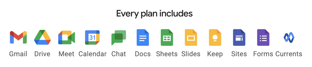 Every Google Workspace plan includes