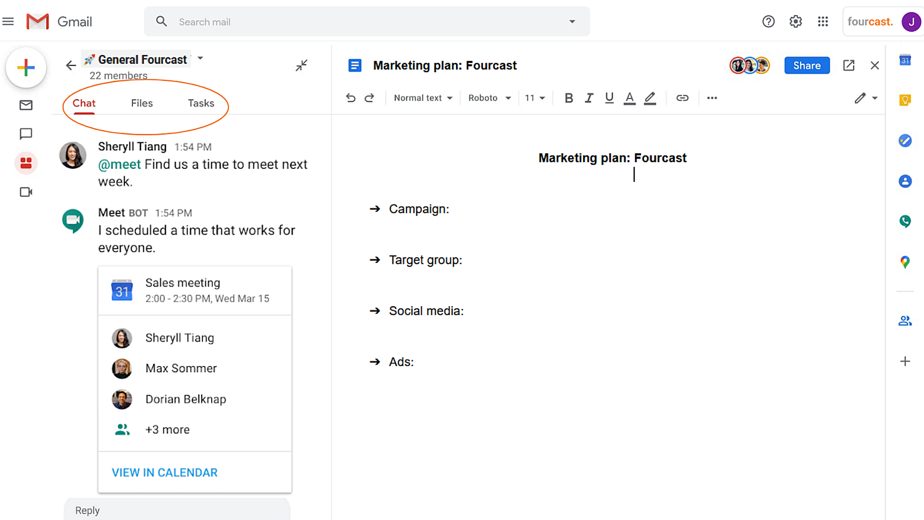 New integrated workspace in G Suite- Google docs