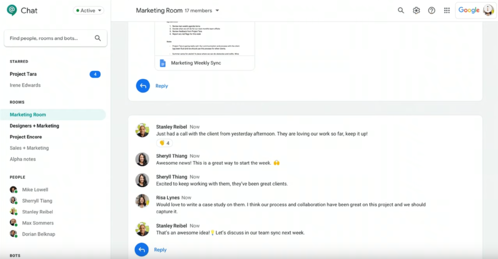 Hangouts Chat announcement Google Next '19