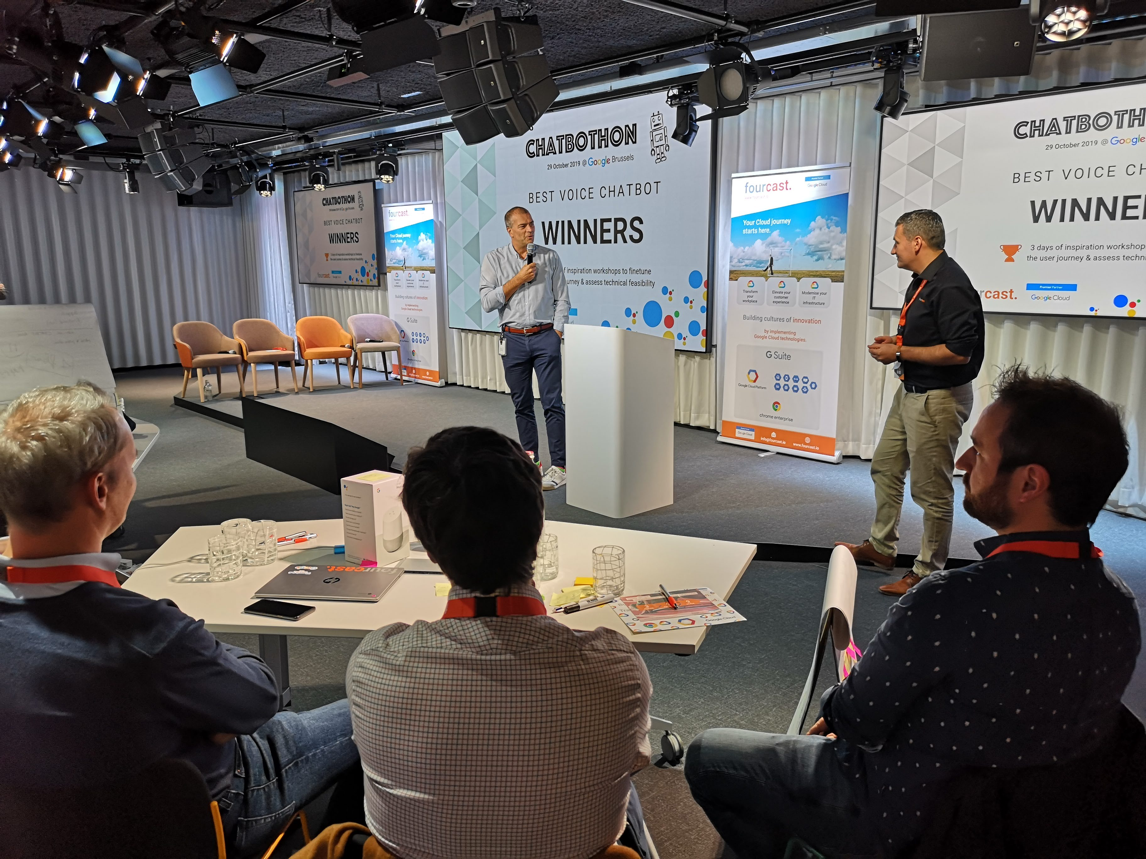 Chatbothon voice chatbots workshop at Google Brussels 2019 Winners' ceremony