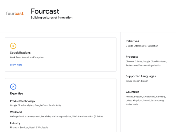 Fourcast page in Google Cloud Partner Directory