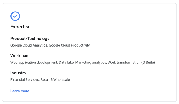 Expertise in Google Cloud Partner Directory
