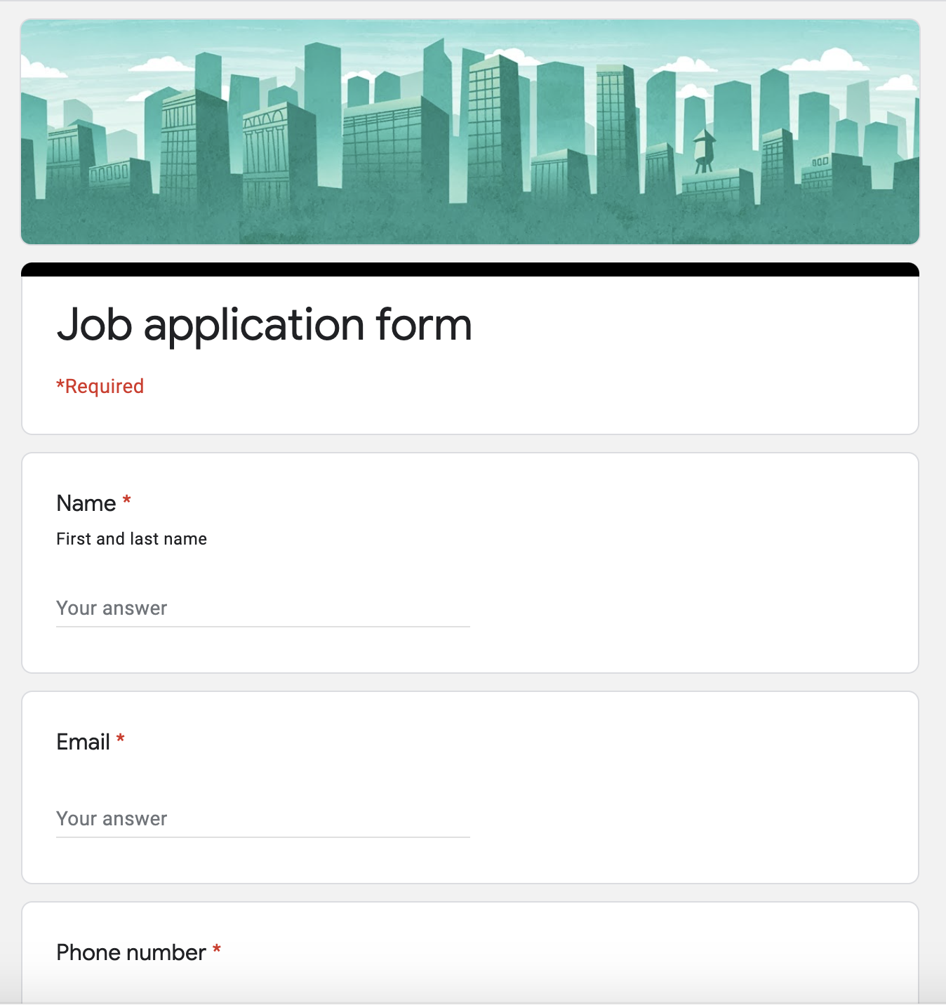 Job Application form with Google Forms